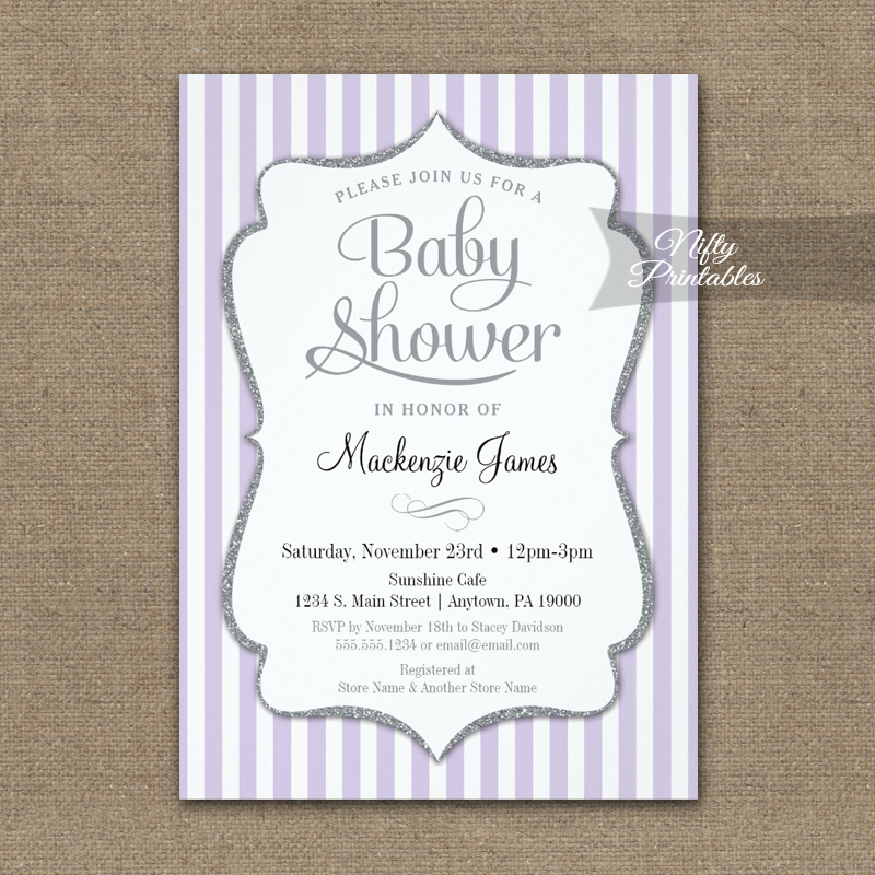 Lilac gray baby shower invitation lavender elegant stripe printed lilac gray baby shower invitation lavender elegant stripe printed filmwisefo