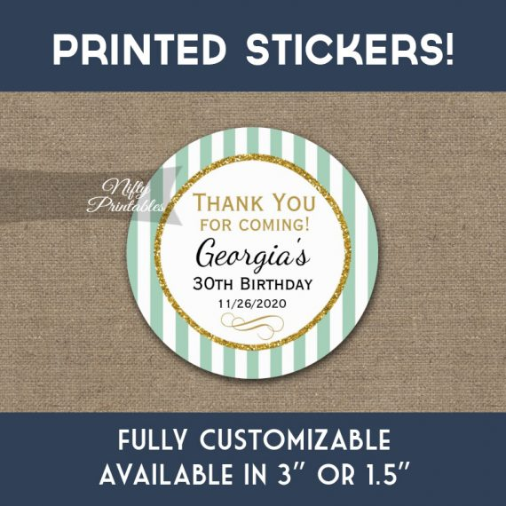 Birthday Stickers Mint Green Gold Thank You Favors PRINTED