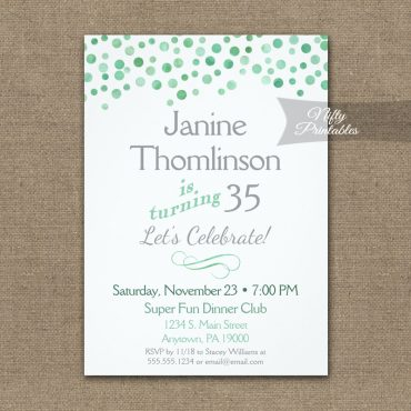 Birthday Invitation Confetti Mint Green Gray PRINTED