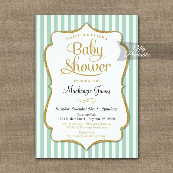 Mint Green Gold Baby Shower Invitation Elegant Stripe PRINTED