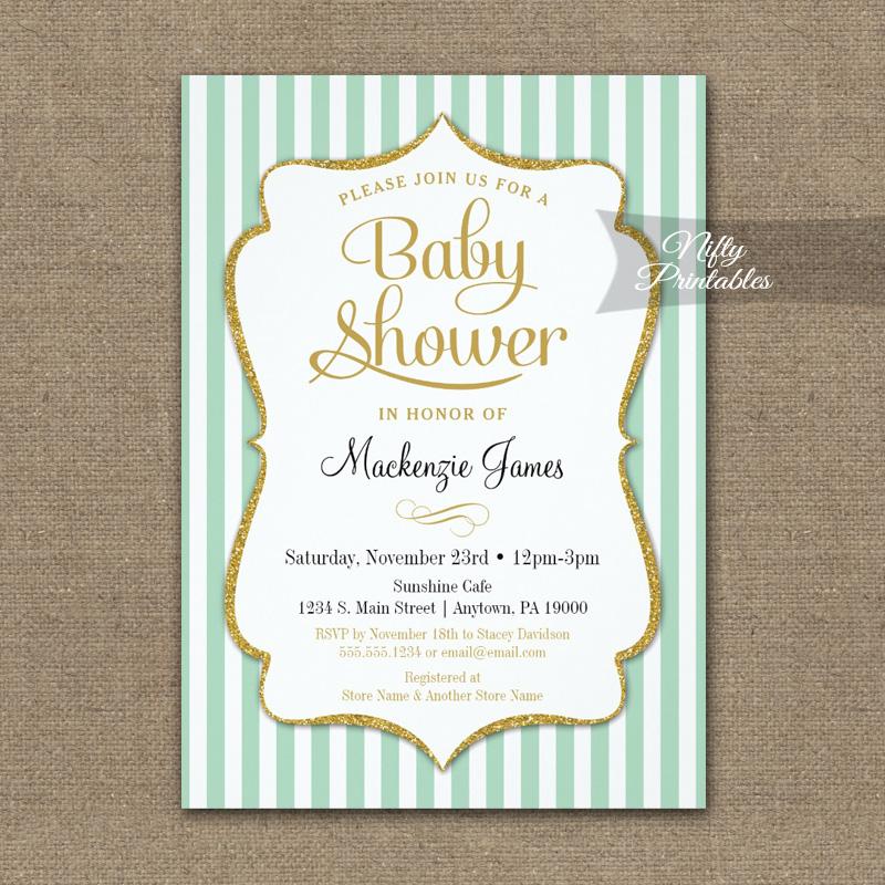 Mint Green Gold Baby Shower Invitation Elegant Stripe PRINTED