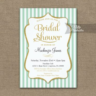 Mint Green Gold Bridal Shower Invitation Elegant Stripe PRINTED