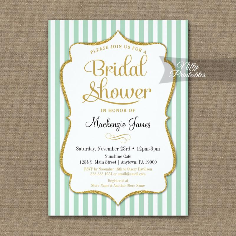 Mint Green Gold Bridal Shower Invitation Elegant Stripe PRINTED