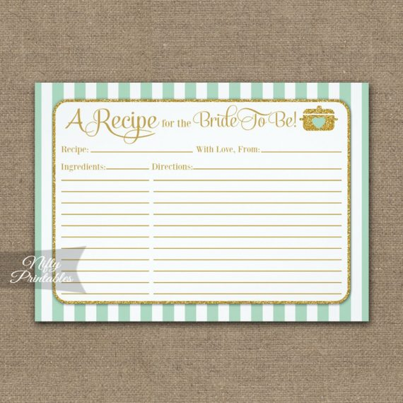 Bridal Recipe Cards Mint Green Gold PRINTED