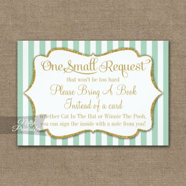Bring A Book Insert Mint Green Gold Baby Shower PRINTED