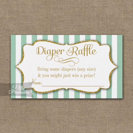 Diaper Raffle Mint Green Gold Baby Shower PRINTED