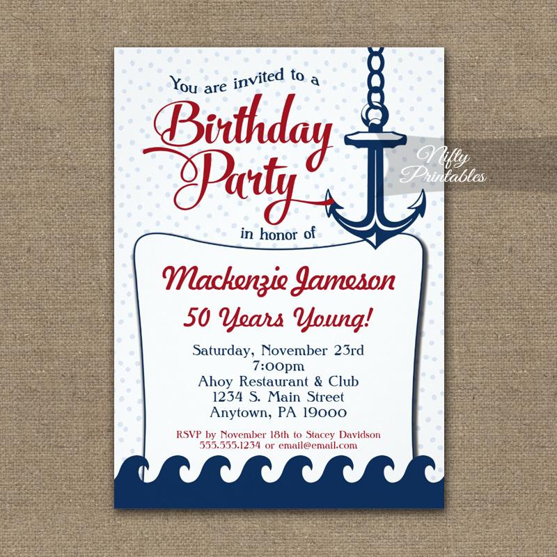 Nautical Birthday Invitation Vintage Retro PRINTED