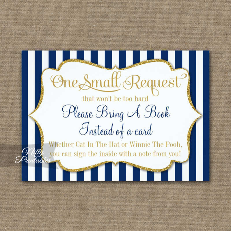 Bring A Book Insert Navy Blue Gold Baby Shower PRINTED
