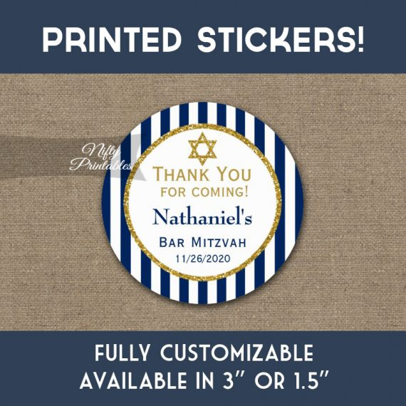 Bar Mitzvah Stickers Navy Blue Gold Thank You Favors PRINTED