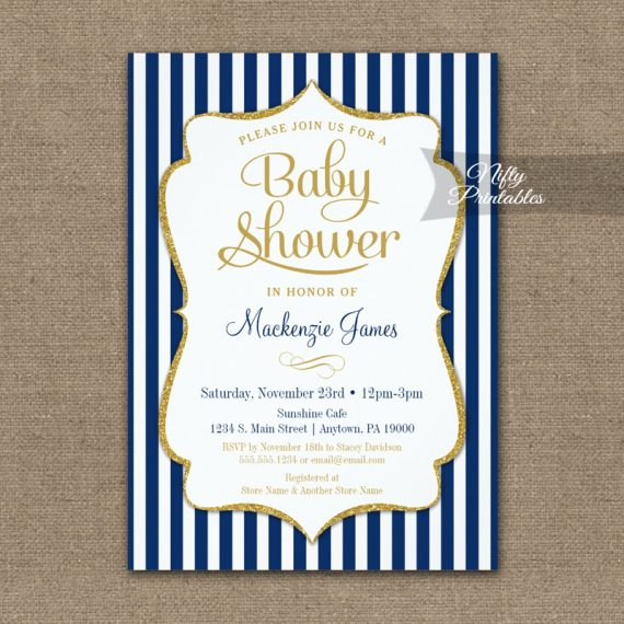 Baby Shower Invitation Navy Blue Gold PRINTED