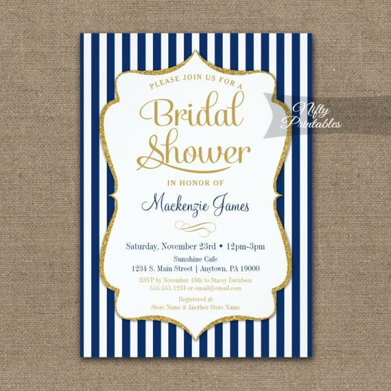Navy Blue Gold Bridal Shower Invitation Elegant Stripe PRINTED