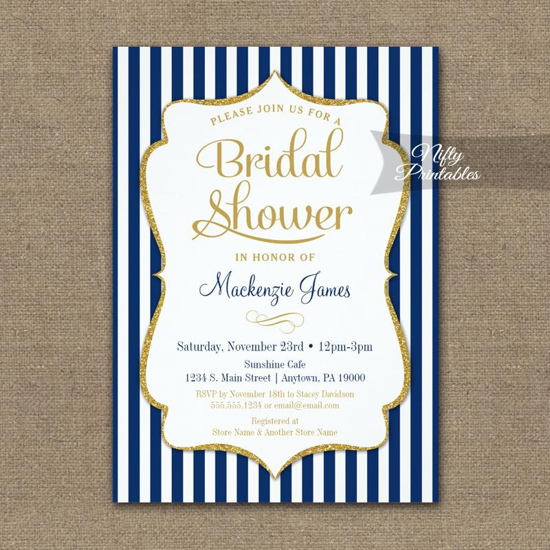 navy blue gold bridal shower invitation elegant stripe