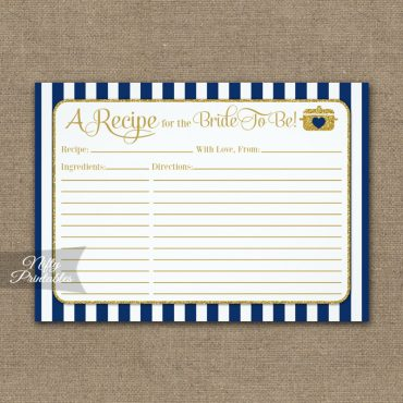 Bridal Recipe Cards Navy Blue Gold PRINTED