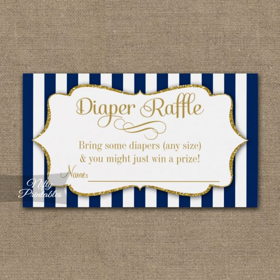 Diaper Raffle Navy Blue Gold Baby Shower PRINTED