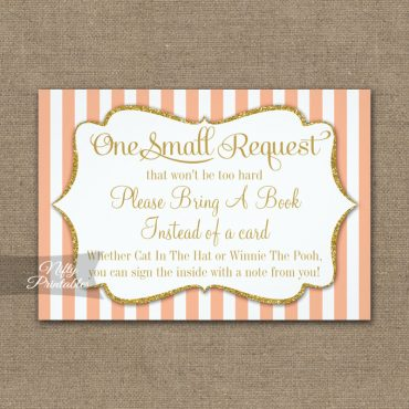 Bring A Book Insert Peach Gold Baby Shower PRINTED
