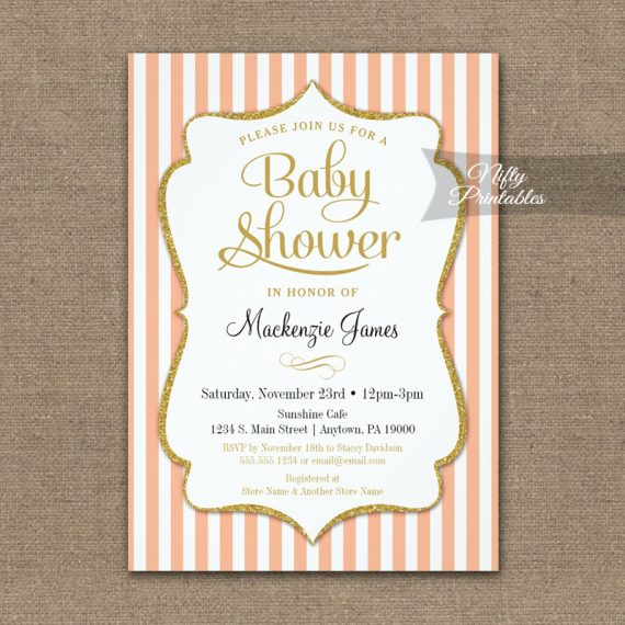 Peach Gold Baby Shower Invitation Elegant Stripe PRINTED