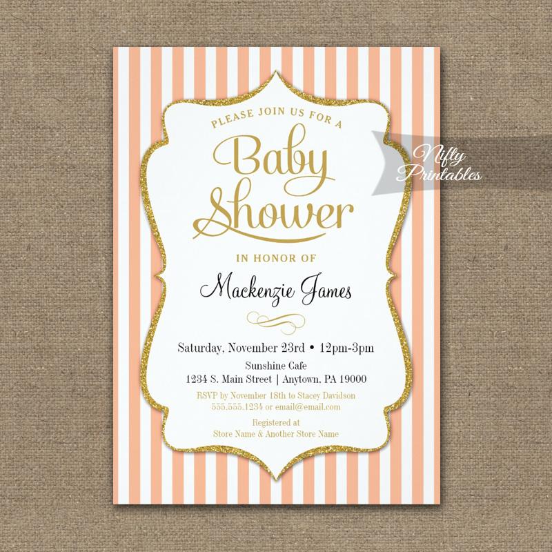 Peach Gold Baby Shower Invitation Elegant Stripe PRINTED