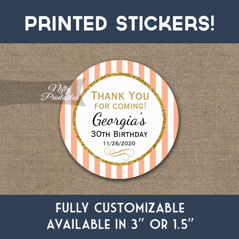 Birthday Stickers Peach Gold Thank You Favors PRINTED