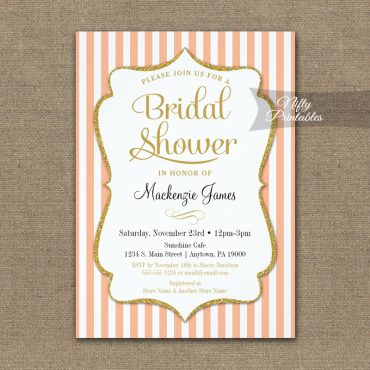 Bridal Shower Invitation Peach Gold PRINTED