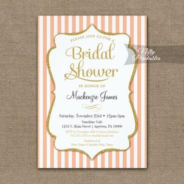 Bridal Shower Invitations Peach Gold PRINTED