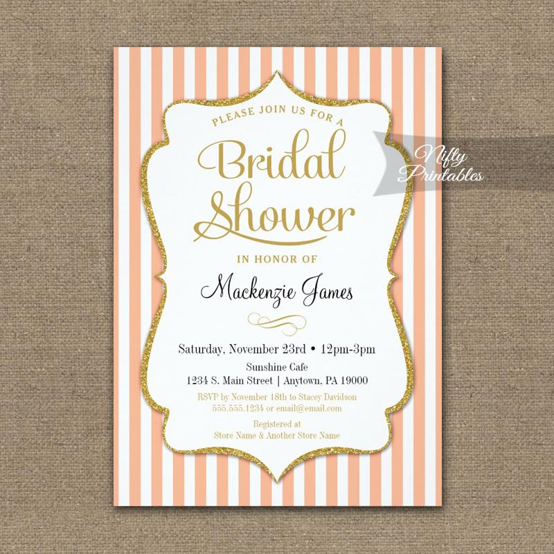 Bridal Shower Invitation Peach Gold PRINTED