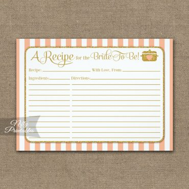 Bridal Recipe Cards Peach Gold PRINTED