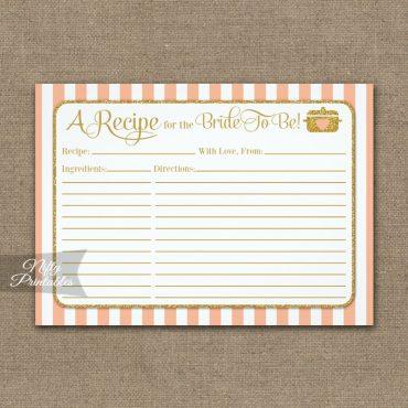 Bridal Recipe Cards Peach Gold PRINTED