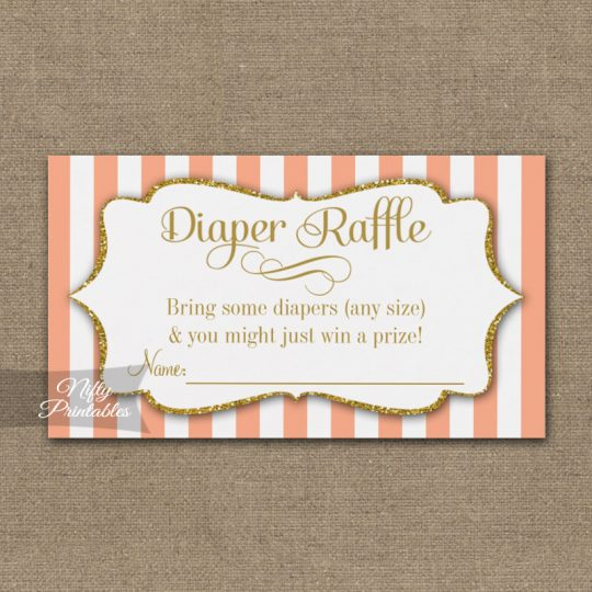 Diaper Raffle Peach Gold Baby Shower PRINTED