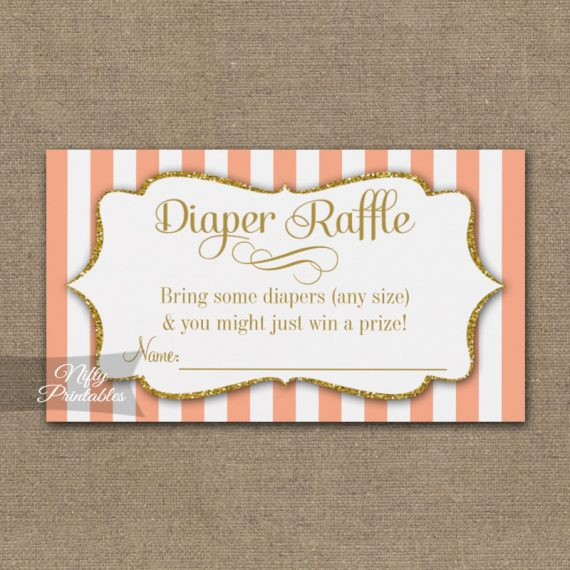 Diaper Raffle Peach Gold Baby Shower PRINTED