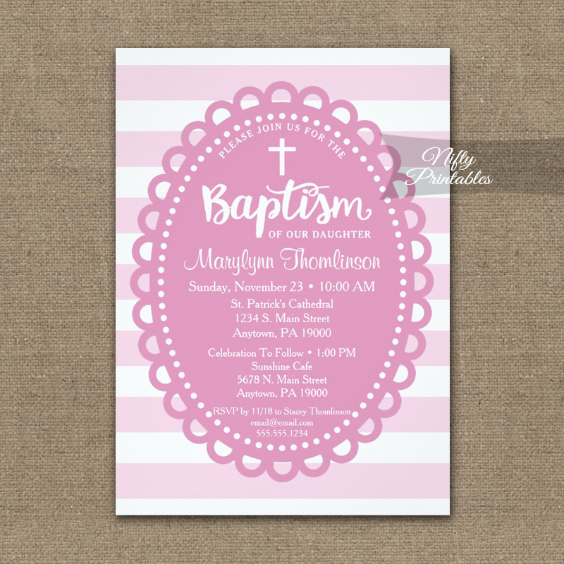 Baptism Invitation Pink Wide Stripe PRINTED
