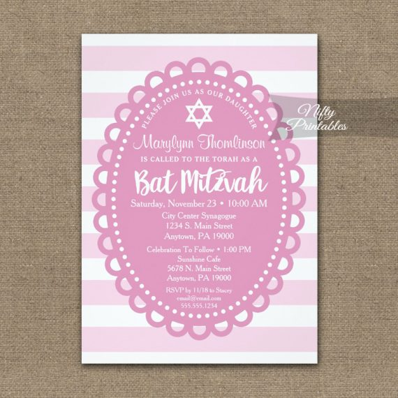 Bat Mitzvah Invitation Pink Wide Stripe PRINTED