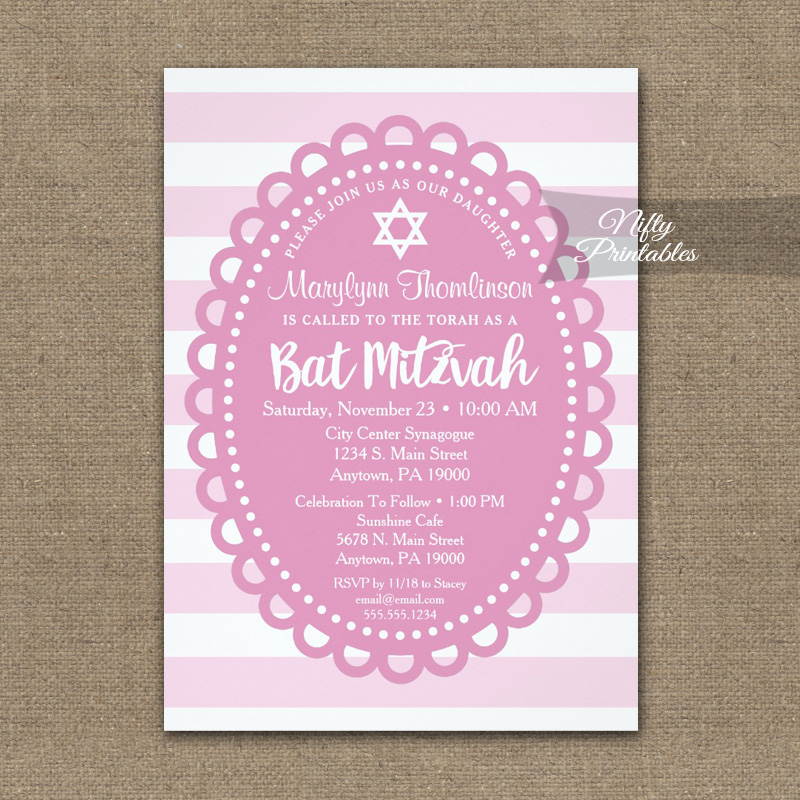 Bat Mitzvah Invitation Pink Wide Stripe PRINTED