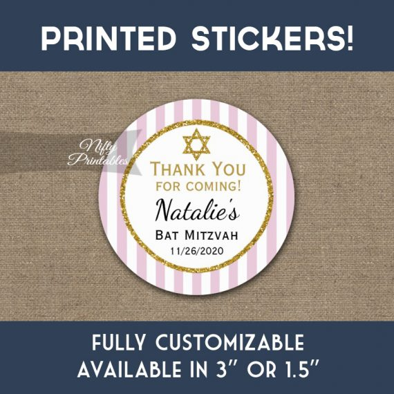 Bat Mitzvah Stickers Pink Gold Thank You Favors PRINTED