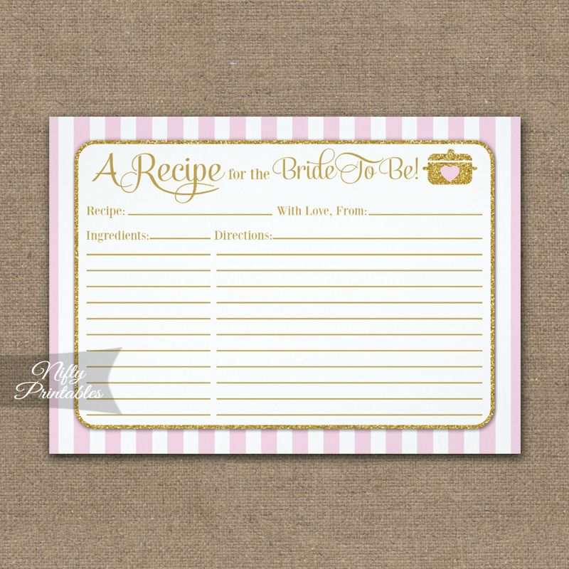 Bridal Recipe Cards Pink Gold PRINTED