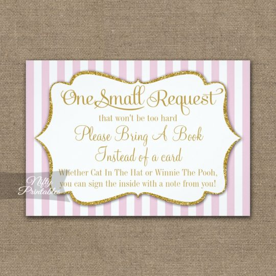 Bring A Book Insert Pink Gold Baby Shower PRINTED