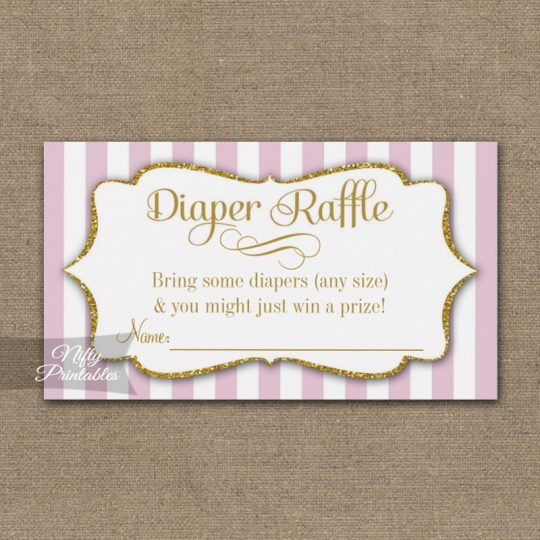 Diaper Raffle Pink Gold Baby Shower PRINTED