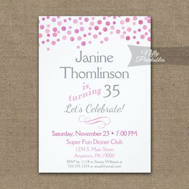 Birthday Invitation Confetti Pink Gray PRINTED