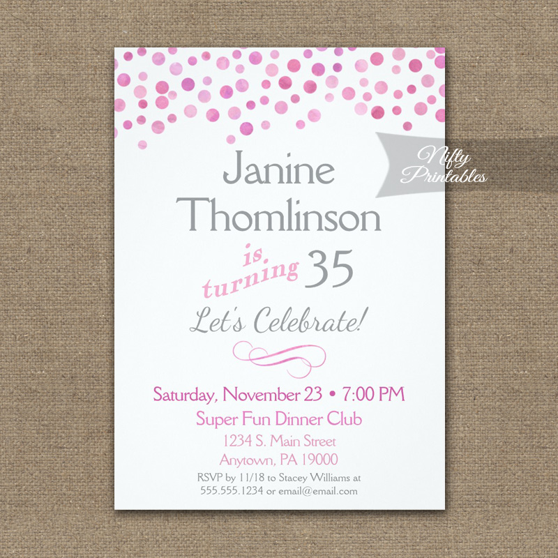 Birthday Invitation Confetti Pink Gray PRINTED