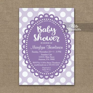 Baby Shower Invitations Purple Polka Dots PRINTED