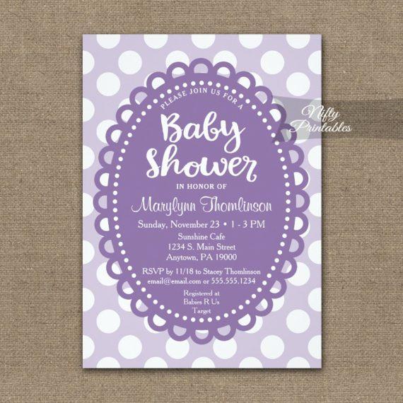 Baby Shower Invitation Purple Polka Dots PRINTED