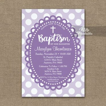 Baptism Invitation Purple Polka Dots PRINTED