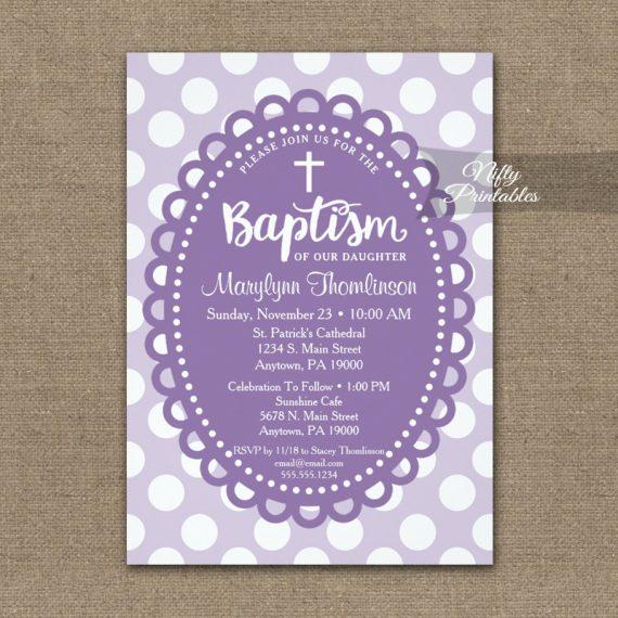 Baptism Invitation Purple Polka Dots PRINTED