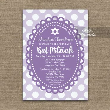 Bat Mitzvah Invitation Purple Polka Dots PRINTED
