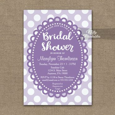 Bridal Shower Invitation Purple Polka Dots PRINTED