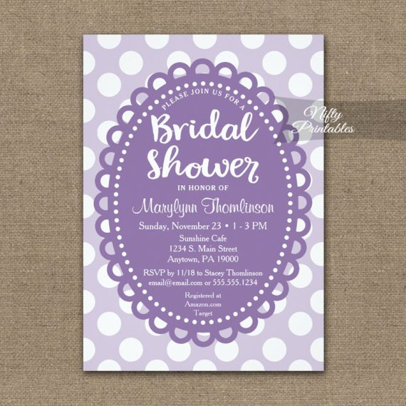 Bridal Shower Invitation Purple Polka Dots PRINTED