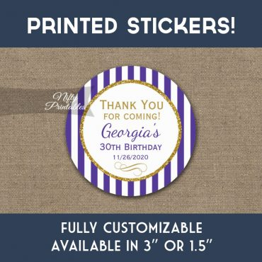 Birthday Stickers Purple Gold Thank You Favors PRINTED