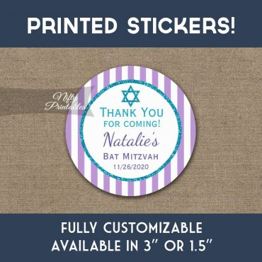 Bat Mitzvah Stickers Purple Teal Turquoise Thank You Favors PRINTED
