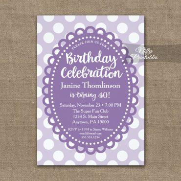 Birthday Invitations Purple Polka Dots PRINTED