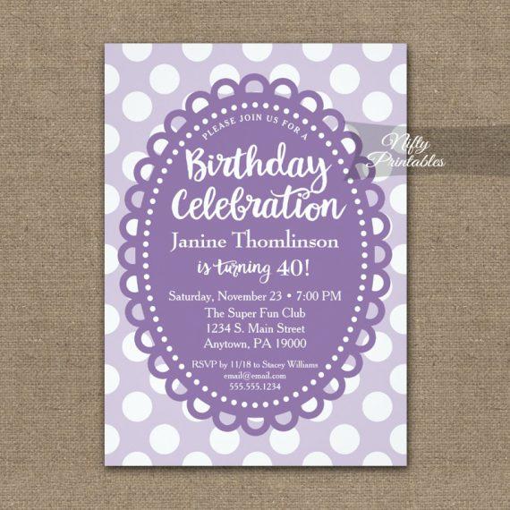 Birthday Invitation Purple Polka Dots PRINTED