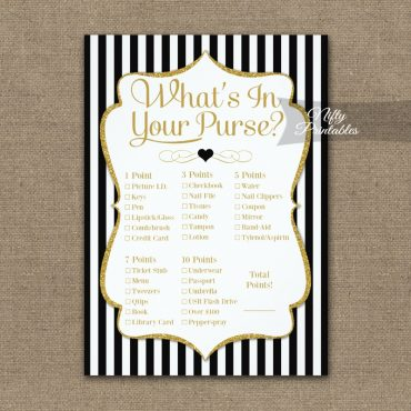 What's In Your Purse Game Black Gold PRINTED